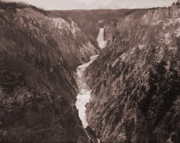 Frank Jay Haynes, Grand Canyon of the Yellowstone and Falls, About 1880. Mammoth albumen print, 16½ x 21 inches. Courtesy of the Collection of Michael Mattis and Judith Hochberg