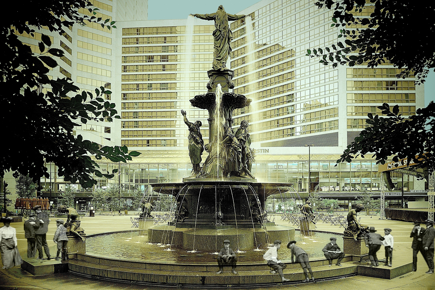 Erce Gokhan, Fountain Square- Genius of Water, 2013 & 1906. Photograph, 12 x 8 inches. Courtesy of the artist