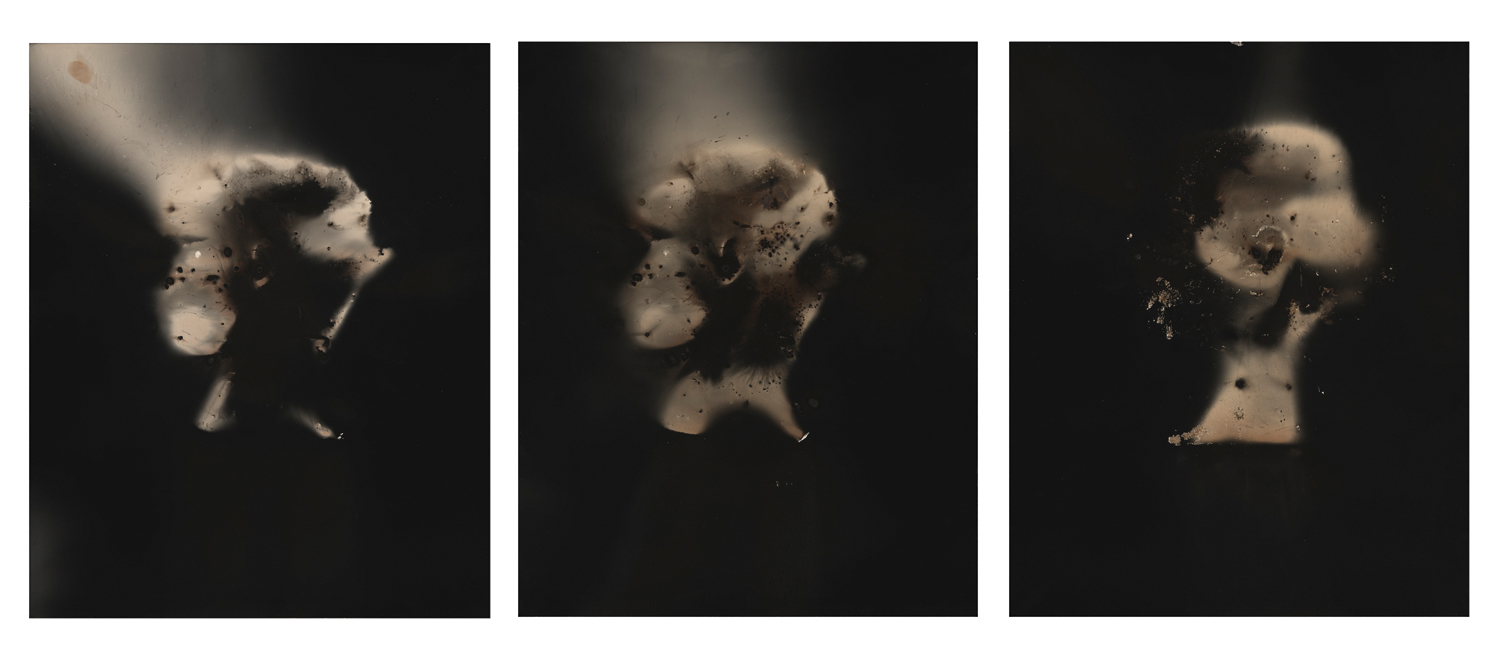 Christopher Colville, Untitled, Head Triptych, 2014. Gunpowder Generated Gelatin Silver Prints, 20 x 50 inches. Courtesy of the artist