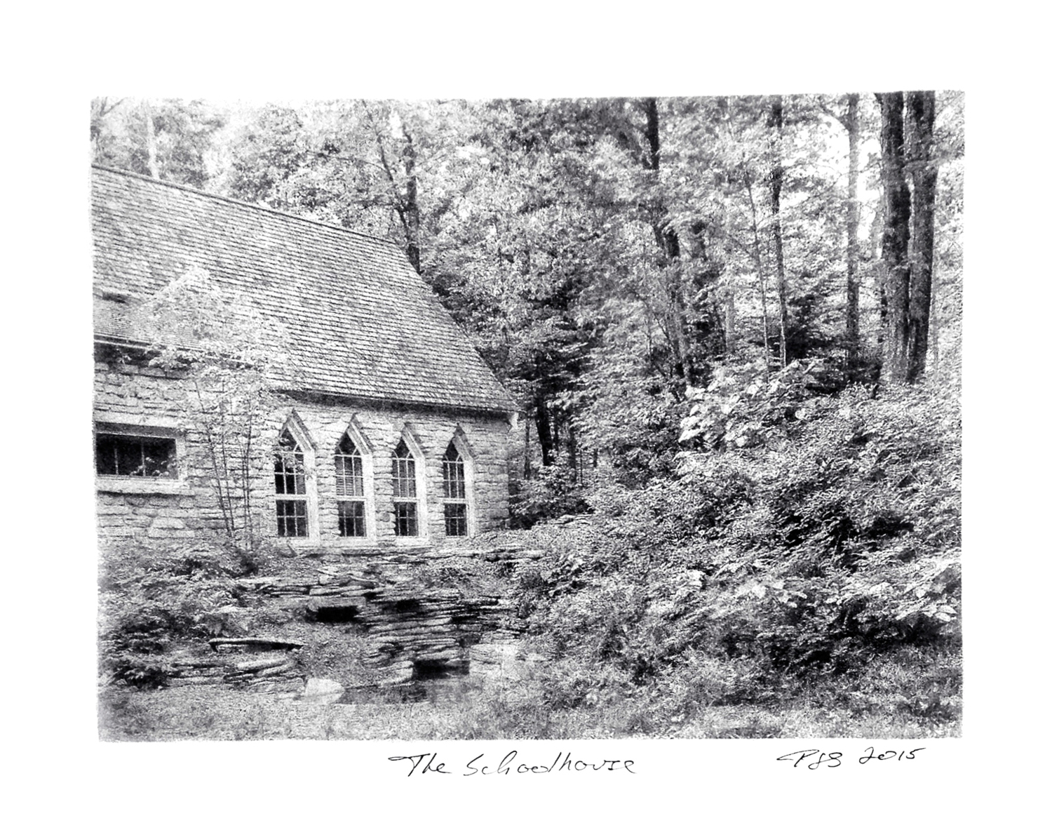 PJ Sturdevant, The Schoolhouse, December, 2015. Bromoil photographic print on FOMABROM Variant IV 123 double weight silver bromide fiber base paper using black lithographic ink, 10½ x 8 inches. Courtesy of the artist