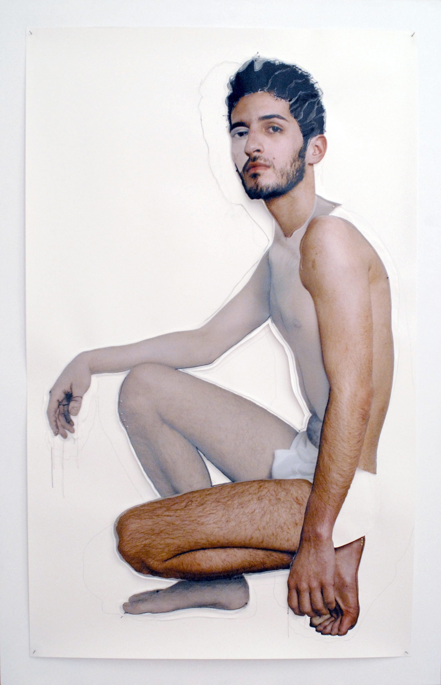 Germán Gómez, Drawn VI (from the Drawn series), 2007. Mixed media drawing, 72⅛ x 47½ inches. Courtesy of 21c Museum Hotel