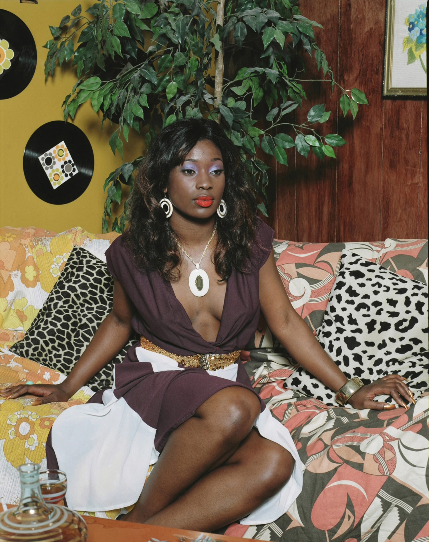 Mickalene Thomas, Portrait of Qusuquzah, 2008. C-print, 70¼ x 56¼ inches. Courtesy of the artist, Lehmann Maupin, New York and Hong Kong, and Artists Rights Society (ARS), New York